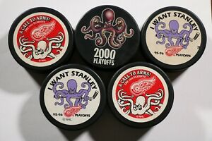 5-Detroit-Red-Wings-Al-the-Octopus-Puck-Lot-NHL-Hockey-Playoffs