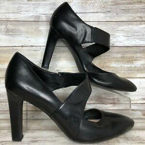Franco-Sarto-Tito-9M-Black-Leather-Dress-Pump-Pointed-Toe-3-3-4-034-Heel-Womens
