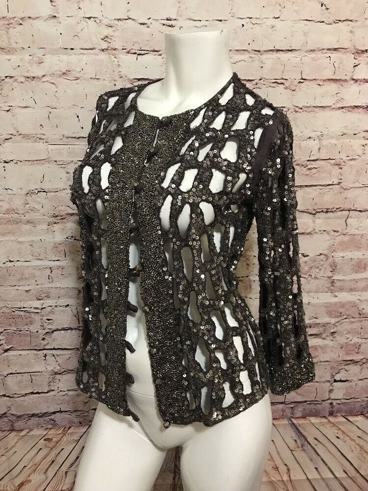 Anthropologie Beautiful Stories Beaded Embellished Hand Crafted Cardigan S C29