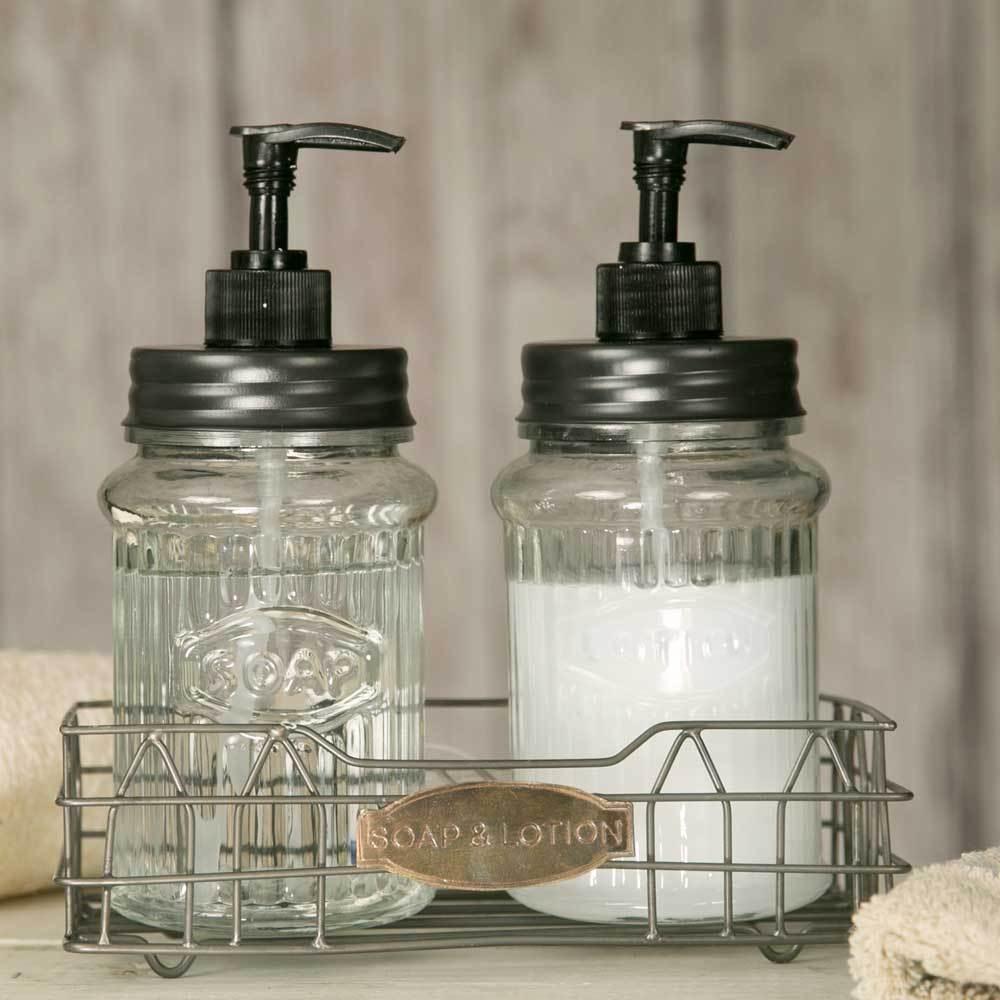 Primitive Farmhouse Cottage Hoosier Soap & Lotion Jar Dispenser w  Wire Caddy