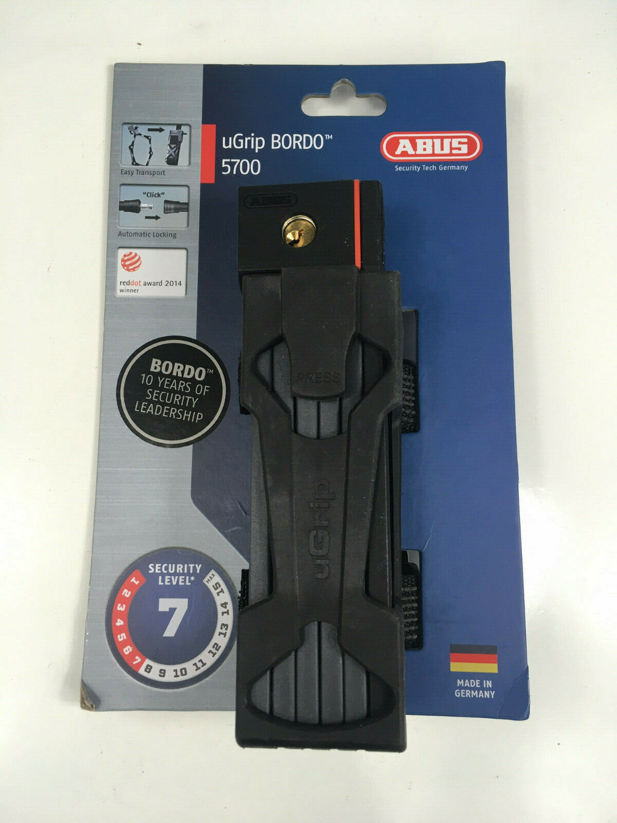 ABUS uGrip Bordo BIG 5700 Folding Lock 100cm//3.3ft Keyed Black