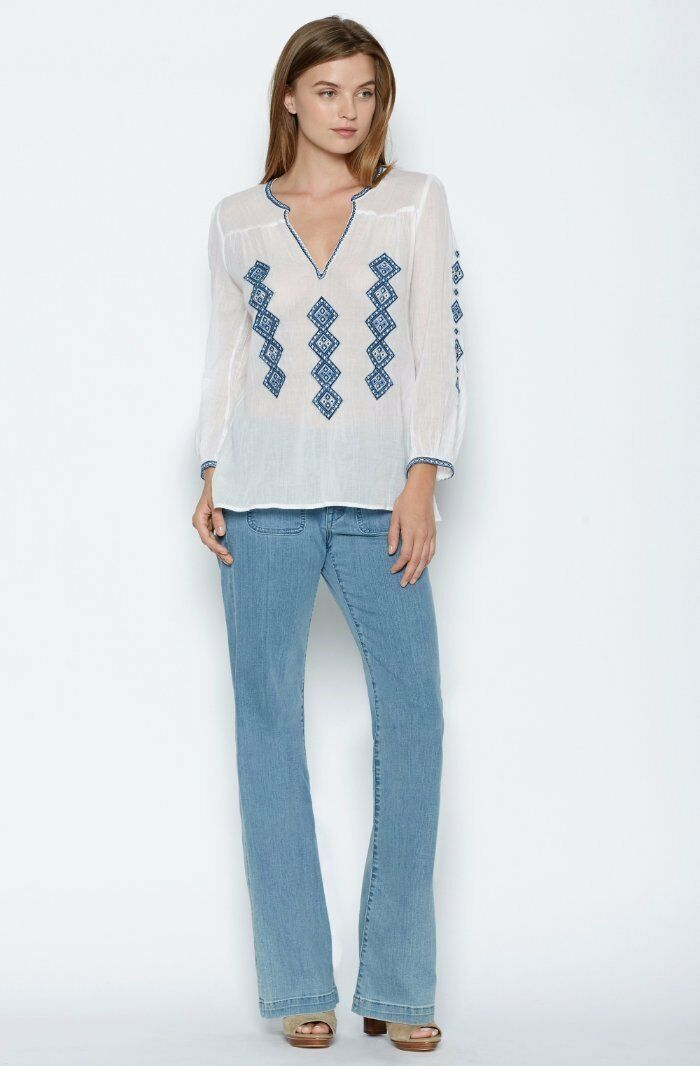 Joie Blau Weiß Embroiderot Magana Peasant Blouse Small 4 6 NEW J392