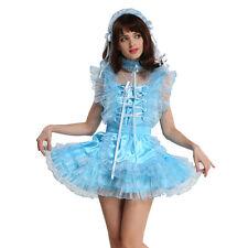 Custom Made Locking Sissy Maid Satin Organza Blue Dress Costume Puffy Male