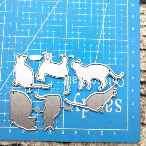 6Pcs Cat  Metal Cutting Dies Stencils Scrapbooking Embossing Cardmaking Crafts
