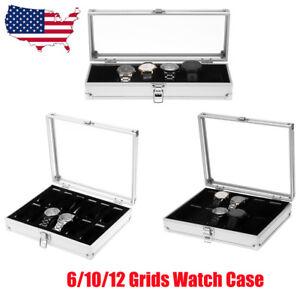 12-10-6-Slot-Watch-Box-Display-Case-Organizer-Clear-Top-Jewelry-Storage-Aluminum