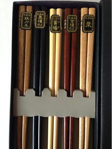 5 Pairs Set Japanese Natural Wood Color Wooden Chopsticks Hair Sticks
