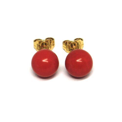 Boucles D/'Oreilles en or Jaune 18K 750 Sphères de Corail Rouge Diamètre 8 MM