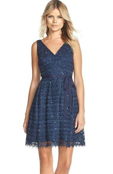 ADRIANNA PAPELL SEQUIN LACE FIT & FLARE NAVY blueE DRESS  sz 8