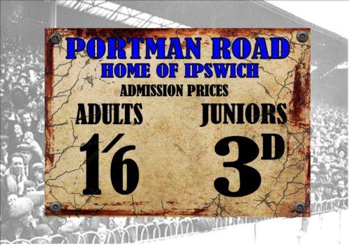 Portman Road Ipswich Town Style Métal Signe Football Vintage Signe Style Antique