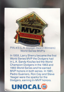 VINTAGE-L-A-DODGERS-UNOCAL-PIN-UNUSED-WORLD-SERIES-MVPs-CEY-YEAGER-GUERRERO