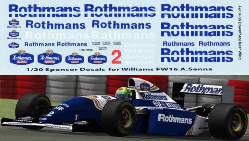 1//20 Rothmans F1 Fujimi Williams FW16 Ayrton Senna DECALS TB DECAL TBD70