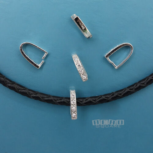 5PC Sterling Silver 10mm Pinch Pendant Bail Clasp Connector w// CZ Crystal #33351