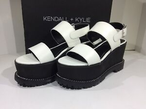 8c0917ca575 KENDALL +KYLIE Cady Women s Sz 8.5 White  Black Leather Platform ...