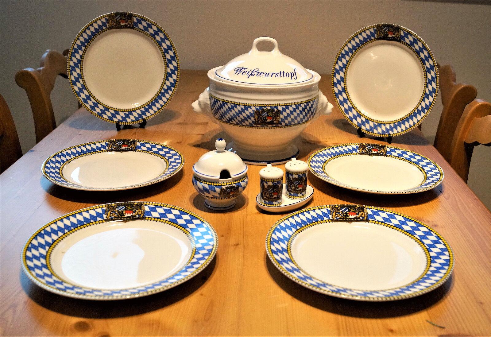 Blanc vaisselle décor Bavière, ENSEMBLE COMPLET 9 pièces, pour Six personnes