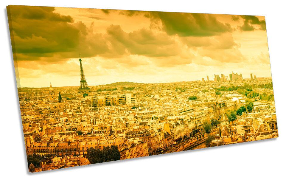Sunset Paris France Skyline PANORAMIC PANORAMIC PANORAMIC CANVAS WALL ART Framed Print 26c243