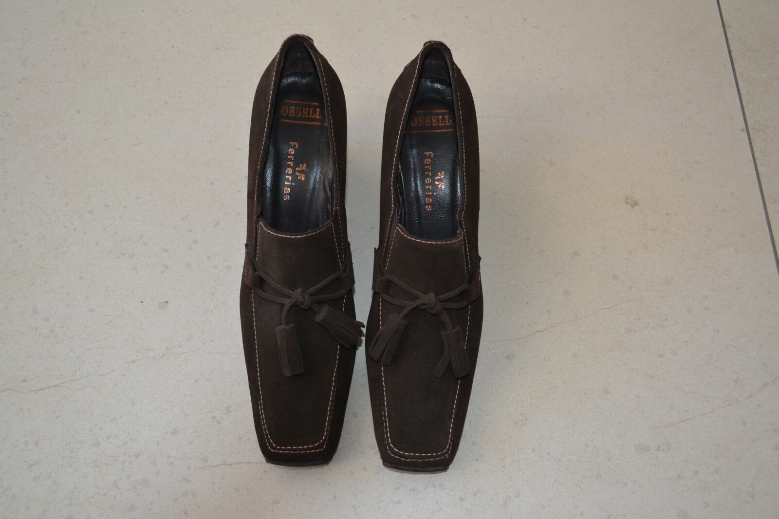 BRAND NEW LADIES BROWN SUEDE ROSSELLI FERRERIAS SHOES IN SIZE 37 RRP 106 EUROS