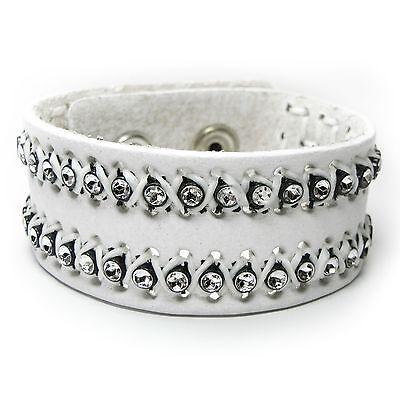 Angemessen Neu 16cm/18cm Lederarmband Echt Leder Weiß Stern Kristalloptik Armband Mit Den Modernsten GeräTen Und Techniken