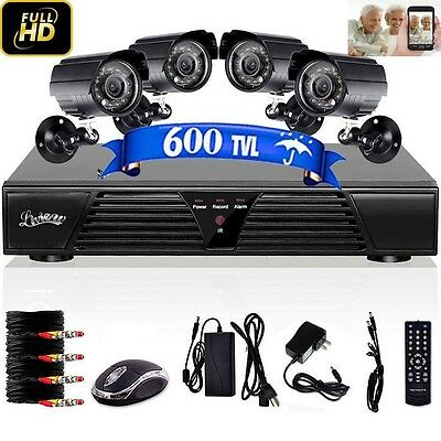 4CH 800TVL D1 CCTV DVR Motion Detection Outdoor Indoor Security Cameras System