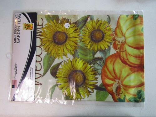 """12x18 12/""""x18/"""" Welcome Sunflowers Pumpkins Fall Blockout Sleeve Flag Garden"""