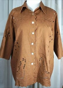 Susan-Graver-1X-shirt-linen-3-4-sleeve-cut-outs-buttons-brown-qvc-new-with-tag