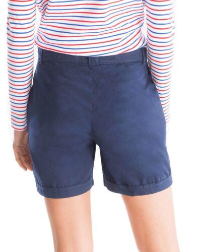 Ladies 16-28 New Self Stripe Blue Cotton Turn Up Shorts Belt Ties Evans Womens