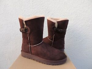 e9aa39dcb40 Details about UGG NASH CHOCOLATE SUEDE/ SHEEPSKIN DECO STRAP BOOTS, WOMEN  US 7/ EUR 38 ~NIB