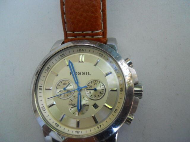 Fossil Herren Chronograph Braun Lederband Analog Quarz & Batterie watch.Fs-4248