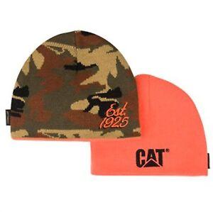 e3407c770 Details about Caterpillar Reversible Camo and Orange Beanie / Hat / Cap w/  est 1925 & CAT Logo