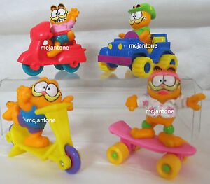 LOOSE-SET-4-McDonald-039-s-1989-GARFIELD-Toys-Odie-FREE-SHIP-Jeep-Scooter-COMPLETE