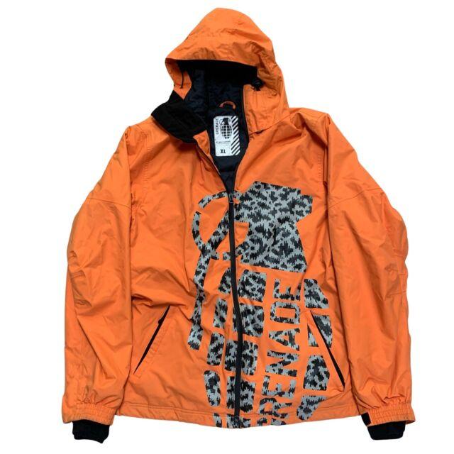 Grenade Mens Snowboard Ski Jacket Orange w/Black & Gray Grenade Logo - SIZE XL