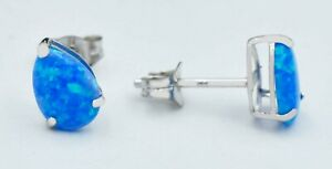 BLUE OPAL 1.06 Cts STUD EARRINGS 14k WHITE GOLD ** New With Tag*