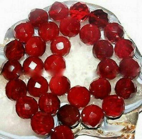 """6//8//10//12mm Facetado Rubí Rojo Natural Gemstone redonda suelta granos 15/"""""""