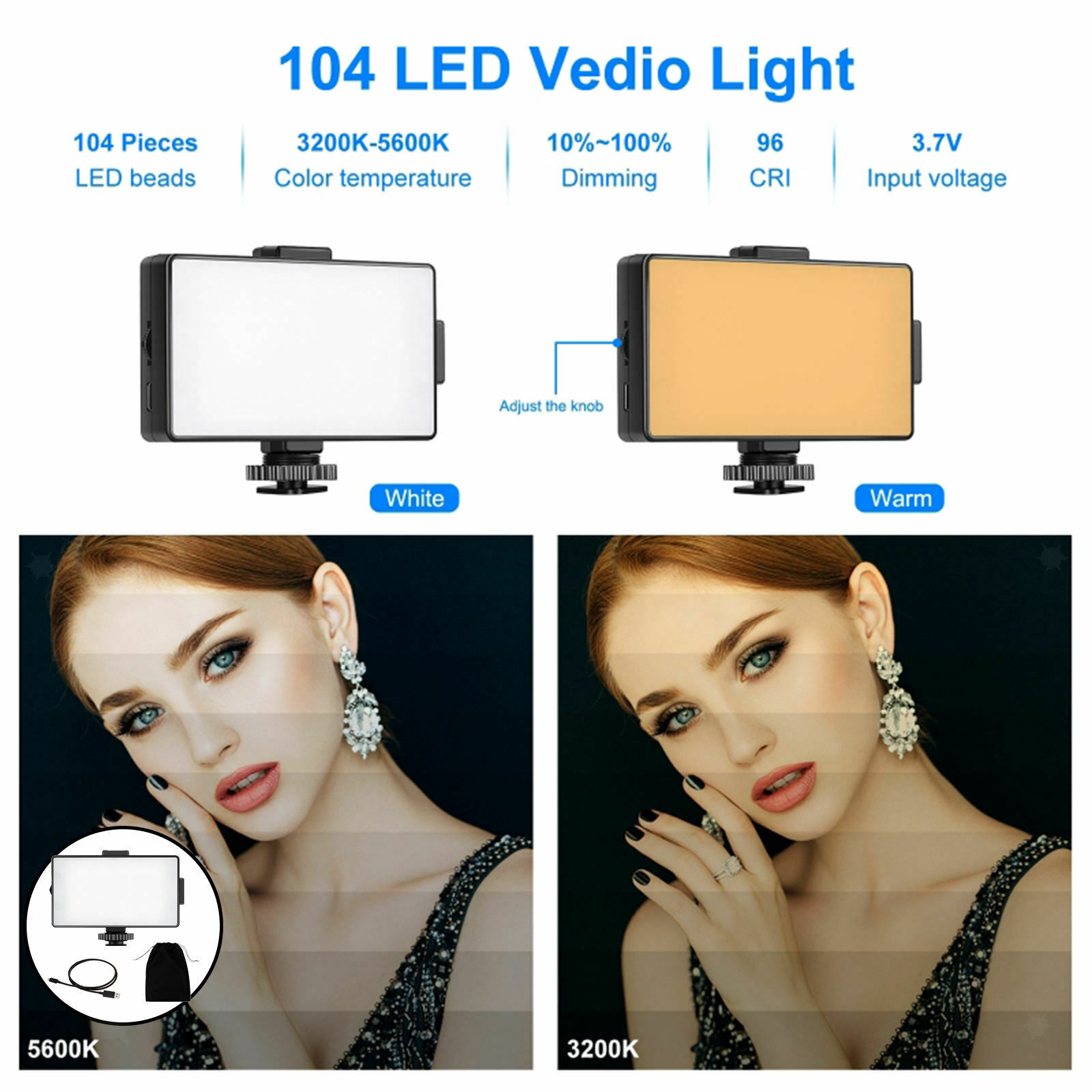 Dimmable On-Camera Video Light Lighting Supplies for DSLR Cameras Filming