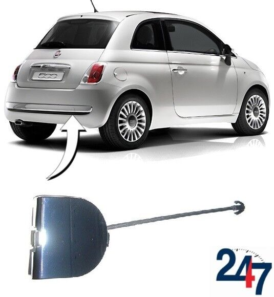 Fiat 500 Rear Bumper Towing Eye Cover Chrome Cap New 735455393