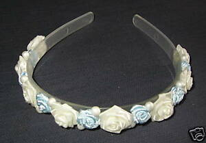 Bride-Bridesmaid-BLUE-amp-IVORY-wedding-hairband-headband