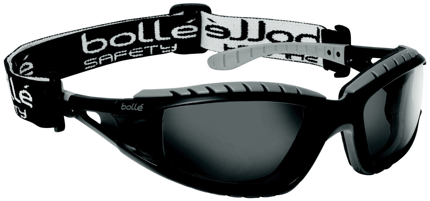Boll/é Safety 253-TR-40085 Tracker Safety Eyewear with Black//Gray Polycarbonate TPE Full Frame and Clear Lens
