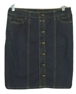 DAISY FUENTES Jean Skirt Blue Denin Stretch Front Button Pencil  Sz 4