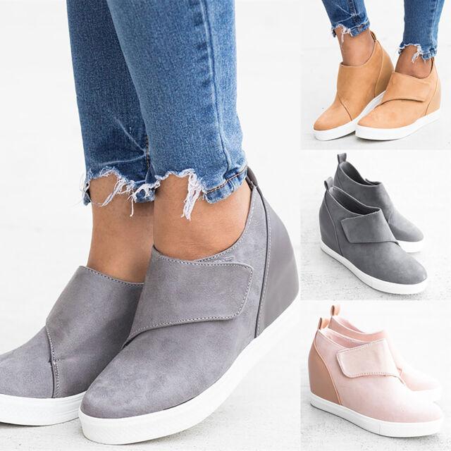 Women Hidden Wedge Heel Platform Sneakers Ankle Boots Slip On Casual Shoes Size