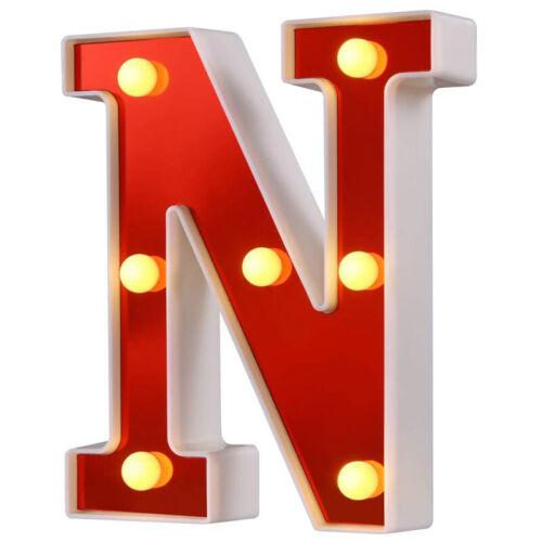 LED Festzelt Brief Lichter Nachtlichter 26 Alphabet Lampe für Haus Bar Dekor NEU