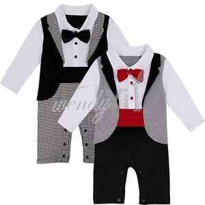 797aca93f 2pcs Toddler Infant Baby Boys Clothes Gentleman Xmas Romper Bodysuit ...