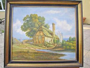 Tableau Signe Paysage Anglais Cornwall Peinture Huile Toile Cadre Bois 60x70cm Ebay