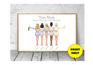 A4-Hen-Party-Bridesmaid-Bride-Tribe-Personalised-Print-Unframed-Unique-Gift