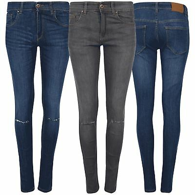 FäHig Ladies High Waisted Women Zip Up Denim Look Knee Cut Out Faded Skinny Trouser