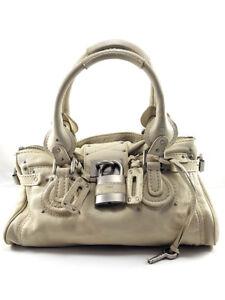 Image is loading Chloe-Paddington-White-Creme-Leather-Padlock-Satchel-Women- 4709caa97