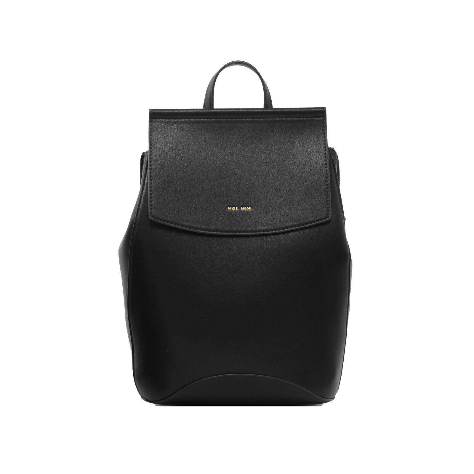 Kim 10.5 x 8 Vegan Leather Mini Convertible Backpack, Black