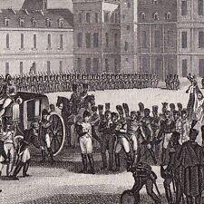 Gravure Adieux de Fontainebleau Napoléon Bonaparte Premier Empire 1839