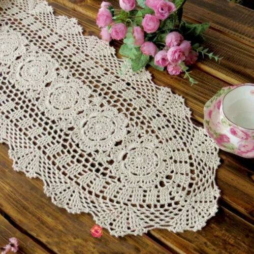 Vintage Hand Crochet Lace Table Runner Dresser Scarf Oval Doily Floral 11x35inch