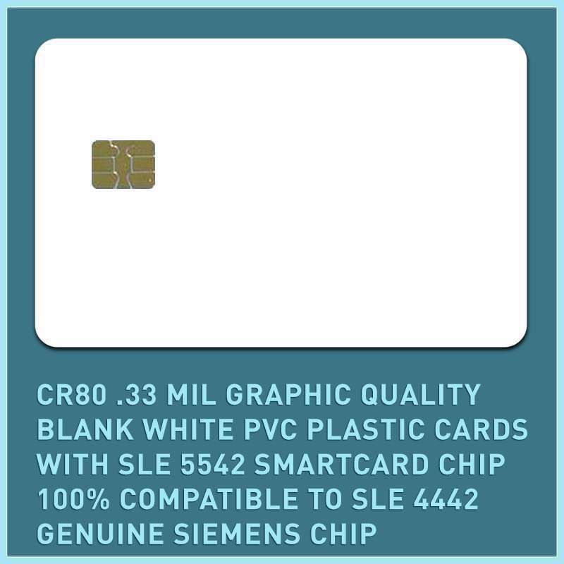 50 x CR80.33 Mil Graphic Quality Blank White PVC, SLE 5542   4442 smart cards