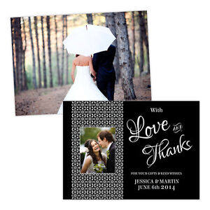 Personalised-wedding-thank-you-cards-BLACK-WHITE-DAMASK-PHOTO-FREE-ENVELOPES-amp-D