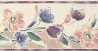 Blooming Watercolor Flowers Plum Purple Designer Kimiko Wall Wallpaper Border